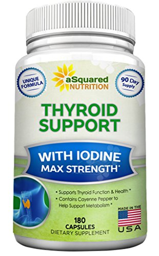Premium Thyroid Support Supplement with Iodine (180 Capsules) - Best Herbal & Vitamin Complex w/ B12, Ashwagandha, Bladderwrack & Kelp - Helper for Healthy Hormone, Energy, Metabolism, Weight Loss