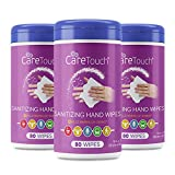 Care Touch Hand Sanitizing Wipes (3 Canisters)   240 Antiseptic Wipes in Moisture-Lock Canisters - 75% Ethyl Alcohol Saturation   For Home and Office Use