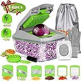 FITNATE 14 in 1 Vegetable&Food Chopper Slicer Dicer, 8 Blades, Onion Chopper, Vegetable Spiralizer Mandoline Slicer Dicer Pro, Veggie Shredder Cutter, with Brush &Organizer Bag