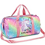Duffle Bag for Girl Gym Sports Women Workout Travel Bag Weekender with Shoe Compartment and Wet Pocket (Fairy tale Unicorn)