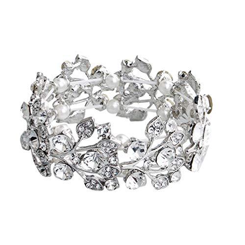 Holibanna Kristall Strass Armband Perle Armreif Stretch Armband Hochzeit Braut Brautjungfer Frauen Armband Schmuck Link Tennis Armband Silber