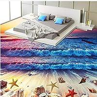 Lcymt カスタム3D床壁画壁紙カラフルなサンセットビーチ海波フローリング壁紙寝室Pvc床壁画-350X250Cm