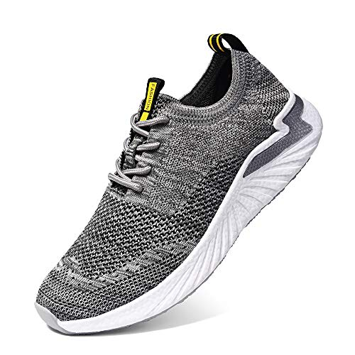 LK LEKUNI Zapatillas Running Hombre Mujer Zapatos Deporte para Correr Trail Fitness Sneakers Ligero Transpirable-Gris02-38