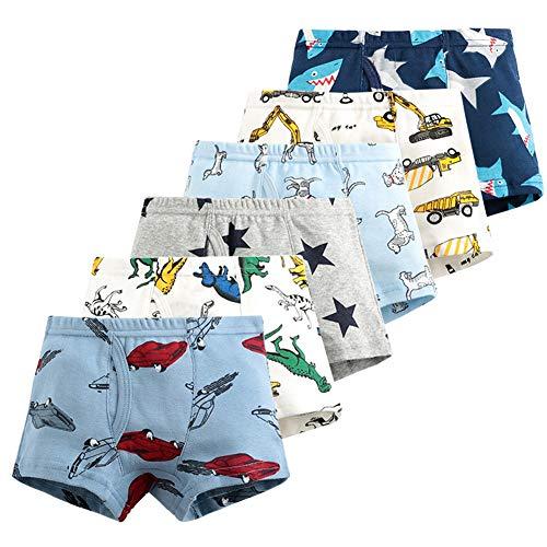 Boys Soft Cotton+Modal Boxer Briefs Cartoon Toddler Kids Underwear Boxers 6 Pack Dinosaur Shark Truck 2-9Y(4/5/6) (4T, StarDINO)