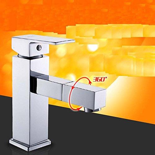 ChengZIle bassin de cuivre plein robinet d'eau chaude et froide 360 tourner le robinet de salle de bains lavabo robinet robinet,livraison gratuite 2 60cm-explosion d'entrée d'eau