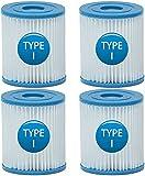 Mallez Filtro de Piscina Tipo I, Set de 4 Cartuchos de Filtro para Bestway Tamaño 1, Compatible con Bestway Piscinas Bomba, 4 Filtros