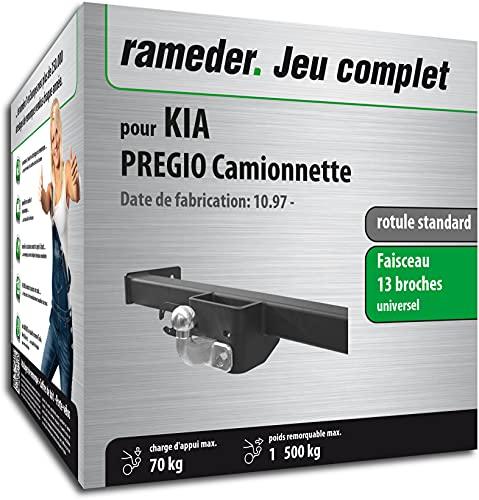 Rameder Pack, attelage rotule Standard 2 Trous + Faisceau 13 Broches Compatible avec KIA PREGIO Camionnette (161063-04144-1-FR).