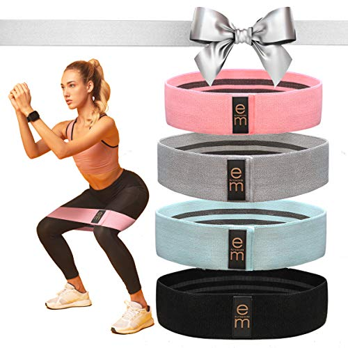 4 Pack Resistance Bands Set  3 Varied Tensions 2021 Upgrade / Fabric Resistance Bands for Butt and Legs  Men amp Women / Versatile Fabric Work Out Bands / Leg Resistance Bands for All Body Types