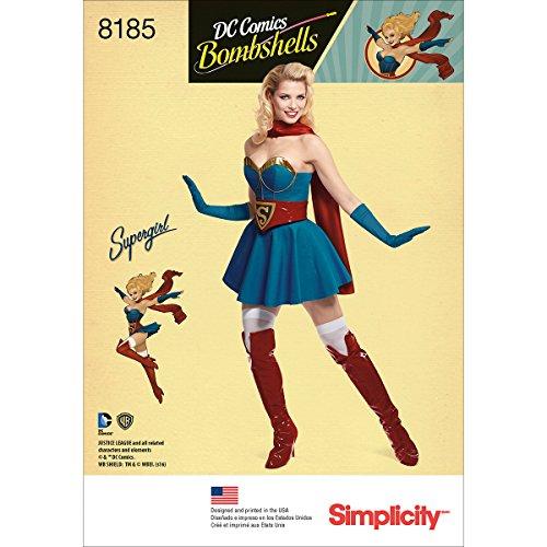 Simplicity Pattern 8185 H5 (6-8-10-12-14) D.C Bombshells Super Girl kostuum voor maten, papier, wit, 22,12 x 15,12 x 1,12 cm