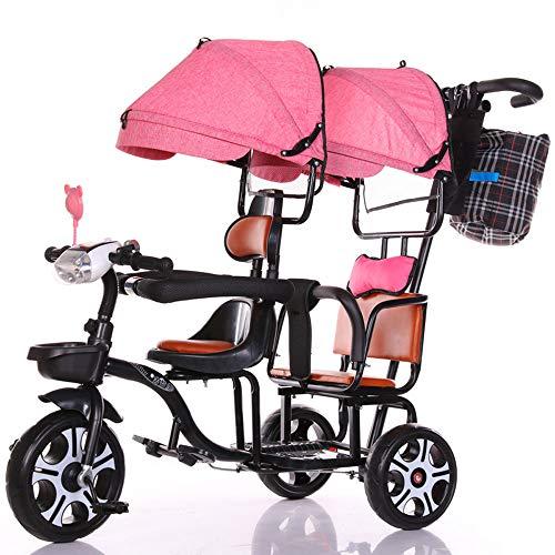 FLYFO Empuje El Triciclo De Niños, Tándem Grande Cochecito para Bicicletas Gemelos Puede Andar Y Sentarse Parasol Tres Ruedas,Rosado