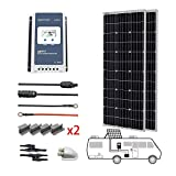 PowerECO 2PCS 100W Equal to 200W Monocrystalline Panel Solar RV Kits with MPPT 30A Charge Controller/Mounting Brackets/Solar...