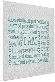 wonbye Canvas Pop Positive Thinking I Am Statements Affirmations Canvas Print, Art Wall Decor 8 x 10 Inches