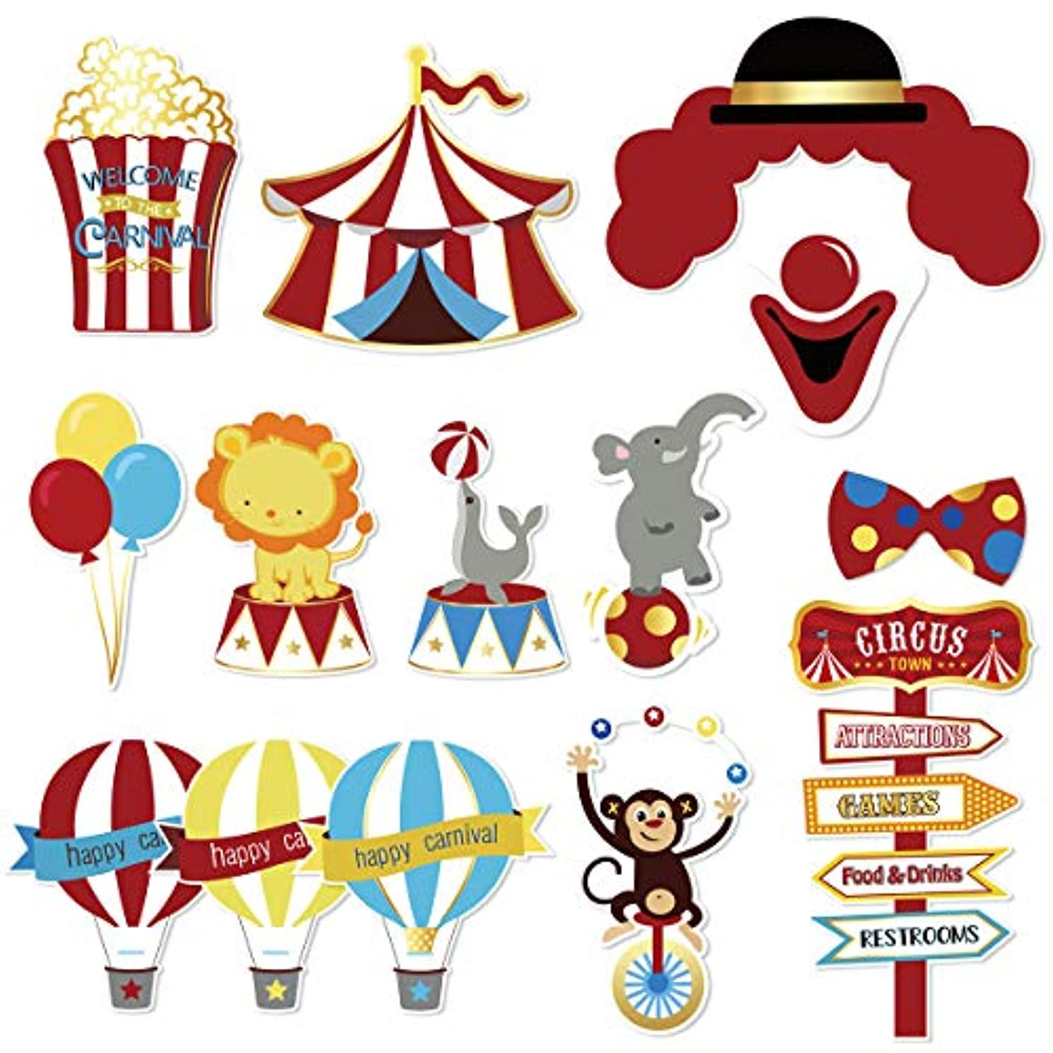 NICROLANDEE Carnival Photo Booth Prop, Circus Theme Party Decorations for Kids Birthday Baby Shower Bachelorette Dress-up Acessories