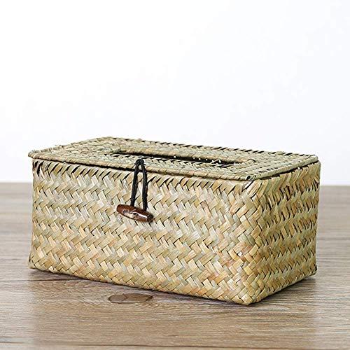 Ratán Tapa Caja Tissue, Papel Toalla Escritorio Cestos Servilletero Natural Alga Marina Tejido Hecho a Mano Tejido Caja de Pañuelos - No Tóxico - Respetuosos con el Medio Ambiente