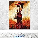 Digitales Ölgemälde zum Selbermachen, Ölgemälde, rote Kleidung, für kleine Mädchen, Kreative Dekoration, hängendes Gemälde, Dekompression, 40 x 50 cm, gerahmt