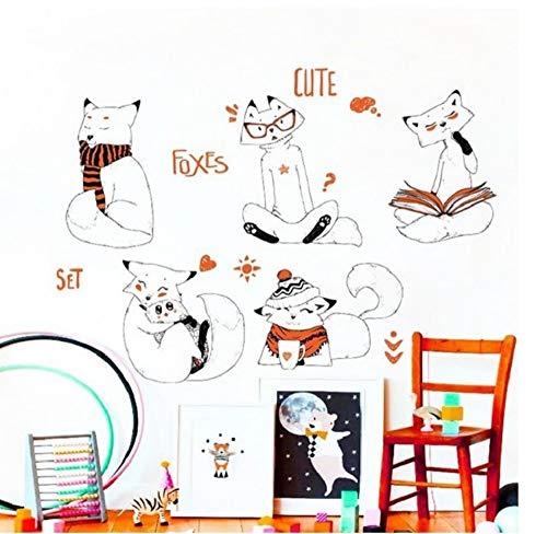 ZJMIQT White Fox Mural Papier Peint pour Chambre bébé Cartoon Home Decals DIY Ruban PVC Art Décoration Animal Posters