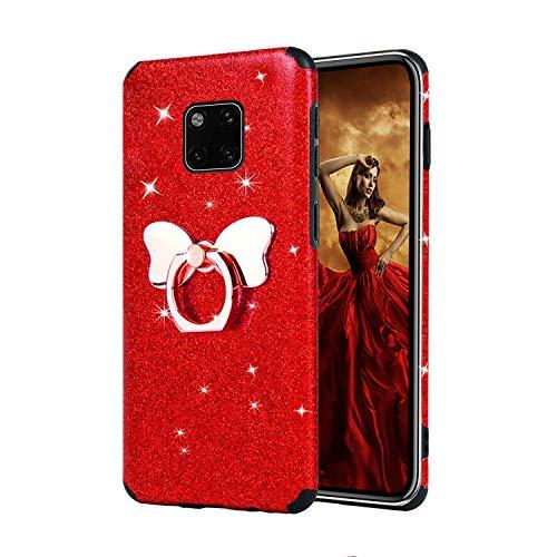 Misstars Glitzer Hülle für Huawei Mate 20 Pro Rot, Bling Pailletten Weiche TPU Silikon Handyhülle Anti-Rutsch Kratzfest Schutzhülle mit Schmetterling Ring Ständer für Huawei Mate 20 Pro
