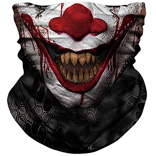 NTBOKW Bandana Face Mask Clown for Sun Dust Wind Protection Mask for Motorcycle Riding Fishing Hunting Festival Outdoor Seamless Mask 3D Skeleton Mask for Men Women(Skull Mask 0155)