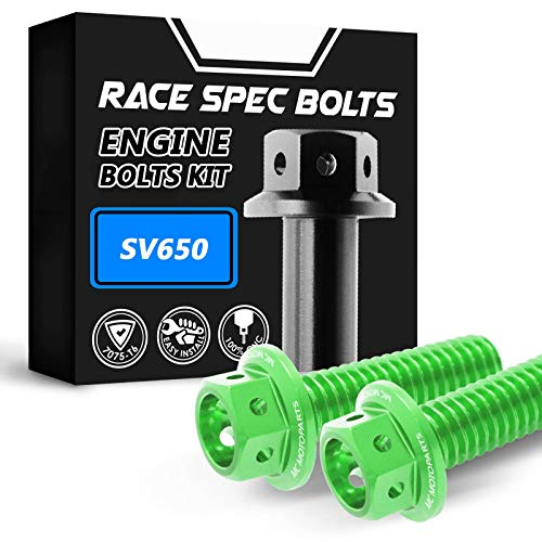 MC Motoparts Race Spec Engine Bolts Kit HEX Head M6 CNC Bolts T7075 For Suzuki SV650 1999-2002 99 00 01 02 (Green)