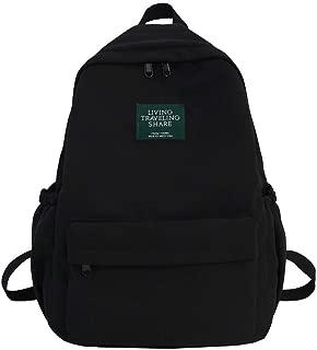 Natarura Large Capacity Solid Color Waterproof Nylon Casual Backpack School Bag
