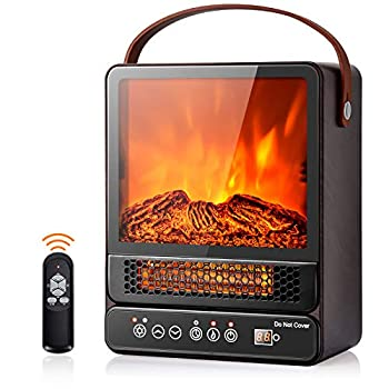 Tangkula 14.5  Mini Portable Electric Fireplace 750W/1500W Tabletop Stove Heater with 3D Flame & Remote Control Electric Fireplace Heater with Overheat Protection,12H Timer  Walnut