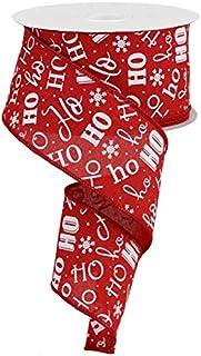 "Christmas Ho Ho Ho Santa Canvas Wired Edge Ribbon - 10 Yards (Red, White, 2.5"")"