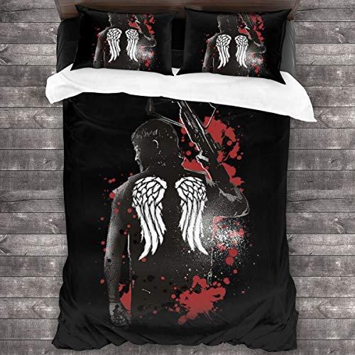 KUKHKU Walking Dead Daryl Dixon Flügel und Armbrust 3-teiliges Bettwäsche-Set, Bettbezug 218,4 x 177,8 cm, dekoratives 3-teiliges Bettwäsche-Set mit 2 Kissenbezügen