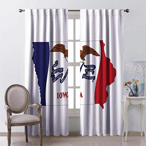 Irene Rossetti Iowa Wear-resistant color curtain The Hawkeye State Map and Flag Bald Eagle Carrying Streamer Beak Waterproof fabric W52 x L54 Inch Cobalt Blue Vermilion and White