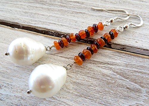 Pendientes de perlas blancas barrocas, granate rojo y agata naranja, pendientes de plata de ley 925, joyas para mujer, joyas de boda, joyas contemporaneas