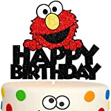 Elmo Happy Birthday Cake Topper Red Glitter Happy Birthday Theme Decor for Baby Shower Birthday Party Cartoon Decorations Supplies