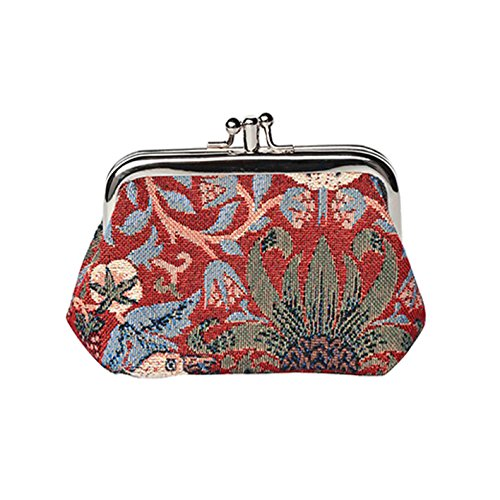Signare Tapestry Arazzo Portamonete da Donna con Doppia Chiusura Kiss Lock, Coin Purse Danna (Strawberry Thief Red)