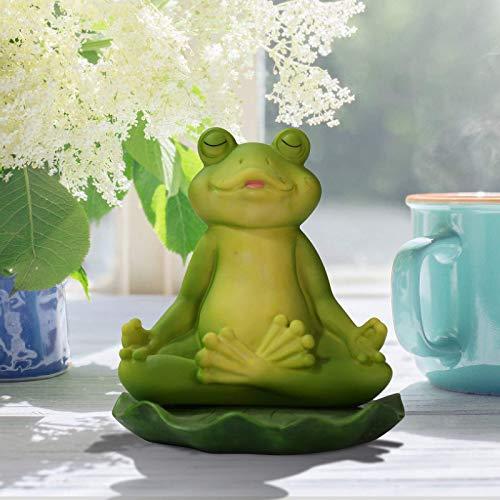 Estatua de jardín de rana meditando yoga, Figuras divertidas de la rana del jardín de hadas, Estanque de jardín Adornos de la rana del arte regalos, Esculturas y estatuas del paisaje al aire l