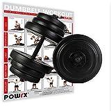 POWRX Kurzhantel (Paar) | 2er Set 20kg 30kg 40kg | Rutschsichere, gerändelte Griffe | Hantelset mit...