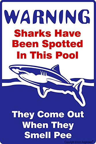 Angeloken Blechschild im Retro-/Vintage-Stil, Motiv: Sharks Have Been Spotted in This Pool, Pool Rules, Metall, für Zuhause, Kaffee, Wanddekoration, 20,3 x 30,5 cm