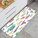 PUIO Juegos de alfombras de Cocina Multiusos,Vector, Seamless, patrón, Origami, Aviones, Flores,Alfombrillas cómodas para Uso en el Piso de Cocina súper absorbentes y Antideslizantes