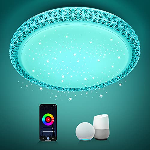 Plafoniera LED Soffitto WiFi,Maxcio Smart Plafoniera Moderna Stelle Dimmerabile RGB+Bianco Caldo/Freddo,Controllo APP/Voce,Compatibile con Alexa/Google,IP54 Impermeabile Per Camera,Cucina,24W, Ø35cm