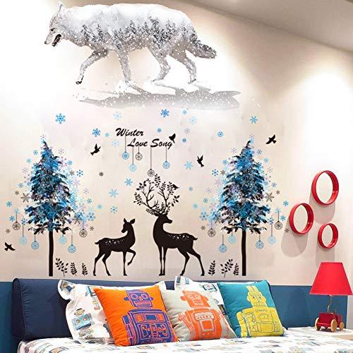 XCWQ damesarmband sneeuwvlokken bomen herten wolf muur Stickers Pvc Diy dier muurschilderingen voor woonkamer kinderen slaapkamer huis decoratie