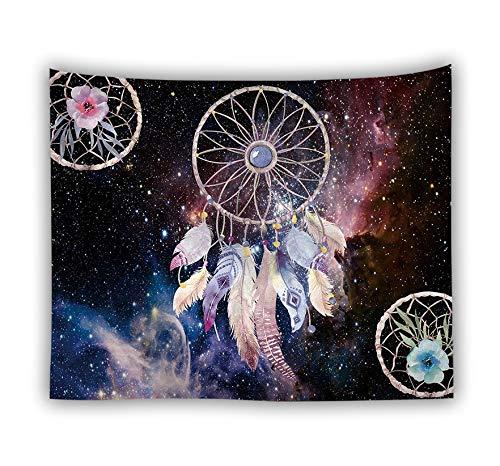 WERT Tapiz de atrapasueños Retro Colorido Hippie Bohemio Colgante de Pared Colcha Dormitorio Dormitorio Tapiz de Fondo Tela A7 130x150cm