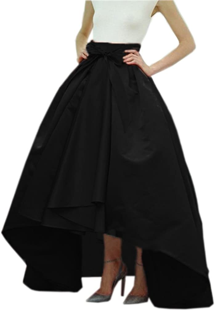 Lisong Women Taffeta Bowknot High-Low Prom Party Skirt