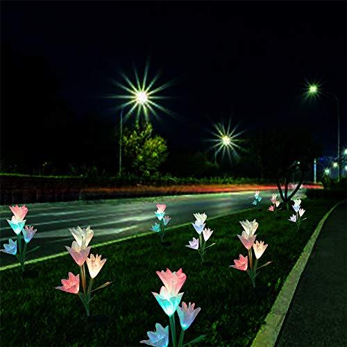Led Solar Lily Flower Lichter Farbwechsel Outdoor Garten Stake Lampen Größere Blumen Und Breiter Solarpanel Für Gartenterrasse Yard Pathway Party Urlaub Dekoration