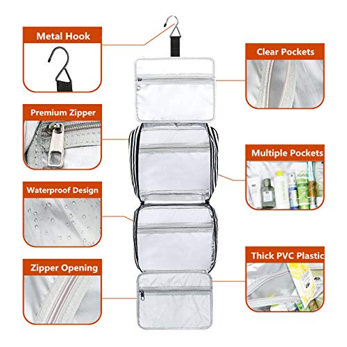51bsqEHXUPL - Hanging Travel Toiletry Bag,Large Capacity Cosmetic Travel Toiletry Organizer for Women with 4 Compartments & 1 Sturdy Hook,Perfect for Travel/Daily Use/Valentines Day