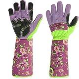 Henan 1 par de guantes de jardinería de piel sintética de manga larga con estampado floral