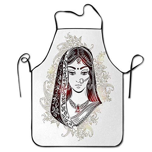 Not Applicable Ethnische Frau im traditionellen Brautkleid auf Blumen und Paisleys Lustige Grillschürze Küchenschürze Kreatives Kochen Grillen Backen Garten Schürze Chef Party Schürze