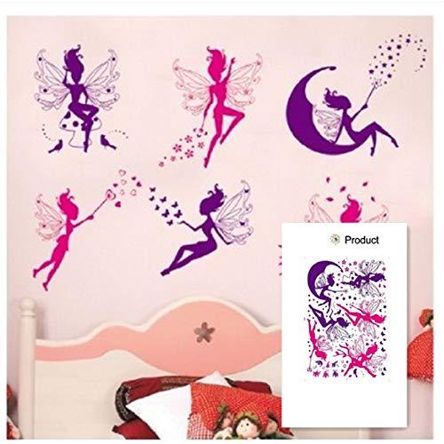 Rosa Lila Fee Silhouette Engel Wandaufkleber Aufkleber Lila Rot Home Aufkleber Wandbild Abnehmbare Vinyl Kunst 100X70Cm