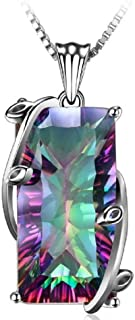 16ct Natural Fire Rainbow Mystic Topaz Necklace Charm Solid 925 Sterling Silver Vintage Fashion Women Jewelry CH262