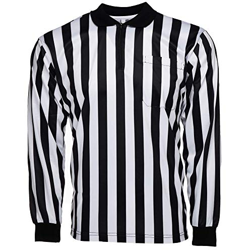 Murray Sporting Goods Men's Official Pro-Style Long Sleeve Collared Referee Shirt, Officiating Jersey for Basketball, Football, Soccer (Large)