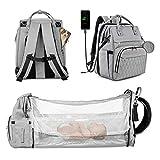 Lifelf Mochila para pañales de bebé como cuna con gran capacidad, con correas para el cochecito, bolsa impermeable para pañales, mochila de viaje para dormir, excursiones, color gris