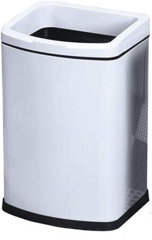 MDMMBB Cocina Dormitorio bao sin Tapa Anillo de presión Cesta de Papel Gruesa de Acero Inoxidable hogar Cuadrado Bote de Basura (Color   blancoo, Tamao   7L)