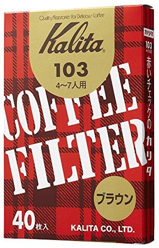 カリタ Kalita コーヒーフィルター 103濾紙 箱入り 4~7人用 40枚入り ブラウン #15131