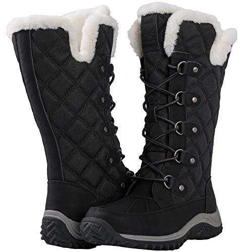 GLOBALWIN Women's 1928 Mid-Calf Fleece Lined Black Snow Boots 7M